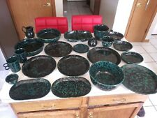 Bennington Pottery Classic Black on Green- Creamer, Lid, & Sugar, Cups, Plate
