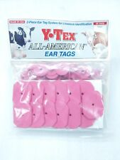 Y-Tex Swine Star 2-Piece Livestock Ear Tags Pig Hog 25 Pack Pink Blank 5000-000