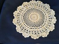 Vintage Ivory Doily Table Topper Hand Crocheted 11 inches