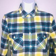 American Eagle Outfitters Womens Top sz M Yellow Blue Plaid Casual MW25