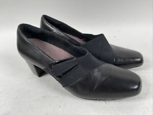 Clarks Everyday Levee Bank Pump Women 9 M Black Fabric Leather Heel Shoe 31300