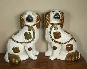 Victorian Antique Pair Staffordshire King Charles Spaniel Dogs Copper Lustre