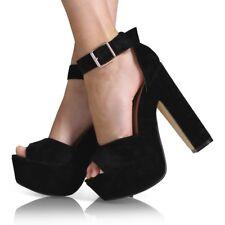 Womens Fashion Strap Ladies Platform Chunky High Heel Sandals Shoes Size Uk3-6.5 Black UK 6.5 US 8.5 EUR 39
