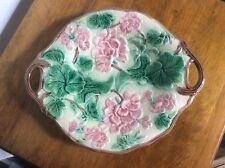 Majolica Geranium Platter Pink Flowers Green Leaves