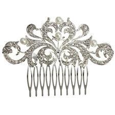 FZEROINESTORE Bridal Wedding Hair Comb Pearl Crystal  Clip Bridesmaid Headpiece