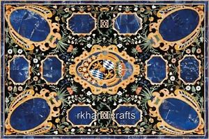 30 x 48 Inch Marble Dinette Table Top Inlay Coffee Table with Lapis Lazuli Stone