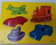 Vintage Wood Puzzle by Sifo Modes of Transportation Great Colors pre 1970s