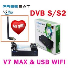 Freesat V7 Max DVB-S2 Full HD Satellite TV Receivers+V8 USB Antenna Wifi Adapter