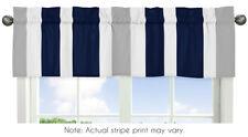 Window Valance Curtain For Sweet Jojo Design Gray Navy Blue White Stripe Bedding