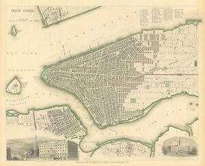 NEW YORK CITY. Antique town city map plan. Manhattan Brooklyn Jersey. SDUK 1844