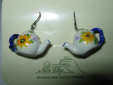 Handcrafted & Handpainted Ceramic TEAPOT Dangling Earrings - 'SUNFLOWER' - NEW