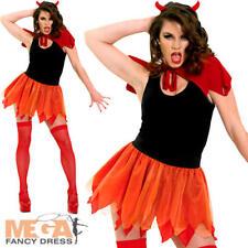 Devil Tutu, Horns & Cape Halloween Fancy Dress Ladies Costume Outfit Accessory