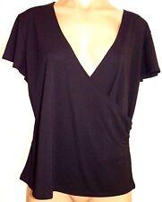 New Norton McNaughton Petites PXL Black cap sleeve v-neck faux wrap blouse shirt