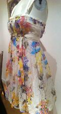 MYOSE PARIS summer Bubble Dress tie-bust white/flowers cotton/silk L
