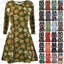 Christmas Polyester Dresses for Women with Smocked