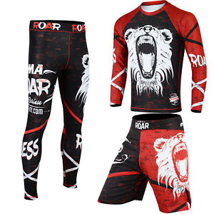 ROAR MMA Rash Guard BJJ Grappling Shorts Gym Fitness Leggings Jiu Jitsu Spats