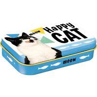 Katze Leckerli Dose für unterwegs aus Metall Happy Cat 9,5 cm