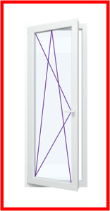 BxH: 100 x 190 cm // 1000 x 1900 mm wei/ß DIN links T/ür LAGERWARE Balkont/ür Fenster Kunststoff Dreh Kipp