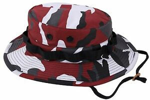Red & Black Camouflage Boonie Bucket Hat w/ Chin Strap S - XL Rothco 5548