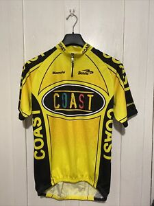 Mens Yellow Bianchi Coast Biemme Cycling / Racing Bike Jersey T Shirt XXL 2XL