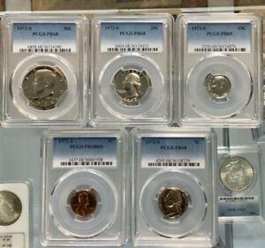 1972-S PCGS PR68 (COMPLETE 5 COIN GRADED  PROOF SET) 50C,25C,10C,5C,1C !!!