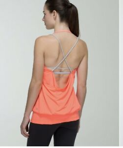 Lululemon Flow And Go Tank Top Size 4 Neon Orange With Silver