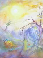 """Original Kunstwerk """"Krank"""" Gerry Miller. Aquarell auf Papier.34x45cm.Unikat"""