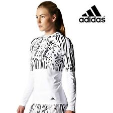 adidas Womens White/black Long Sleeve Hooded Climalite Running Top Size S F95226