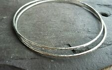 2 x Beautiful Handmade Solid 1.5mm 925 Sterling Silver Hammered Bangle Bracelet