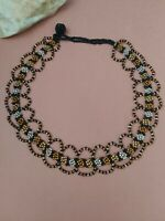 """Vintage handcrafted beads choker necklace 15"""""""