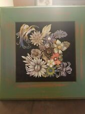 """Vintage and Contemporary Jewelry Art framed """"Floral""""  15x15 Beautiful OOAK"""