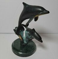 SPI San Pacific International Bronze with Blue Casting Patina Dolphin Statue