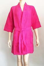Women's Waffle Robe Knee Length Wedding Bride Weave Kimono Bath Robe Spa Fuschia
