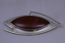 """Vintage Sterling Silver Pin Brooch with Agate Stone Hand Crafted """"LISL"""""""