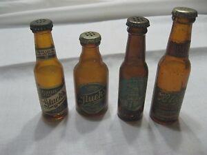 Lot of 4 Vintage Antique Gluek's, Blatz Miniature Salt Pepper Beer Bottles
