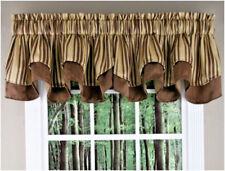 "6 - New Elegant Brown Valance Curtain Windsor  56"" W x 17"" L Layered"