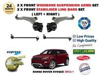 FOR RANGE ROVER EVOQUE 2011-> 2X FRONT WISHBONE SUSPENSION ARM + STABILISER LINK