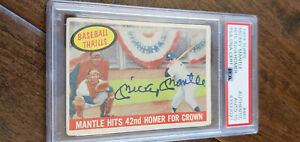 1959 TOPPS SIGNED AUTO CARD MICKEY MANTLE HITS 42ND HOMER YANKEES PSA DNA 10 461