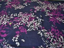VISCOSE SLUB CREPE FLORAL  PRINT-NAVY/FUSCHIA/IVORY- DRESS FABRIC-FREE P&P
