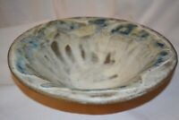 Beautiful Large Handmade Pottery Bowl Shades of Blue Gray White Signed