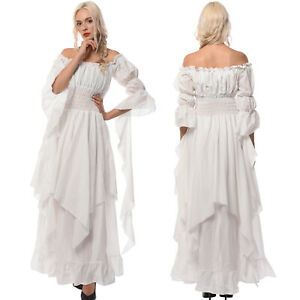 Victorian Medieval Renaissance Gothic White Long Court Dress Princess Ball Gown