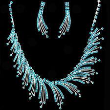 Crystal Blue Flame Rhinestone Necklace & Earring set for Wedding, Bridal, Prom