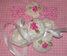 Handmade Crochet Baby Girl Booties, Head Band Set White & Pink  Newborn 3 Months