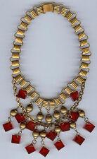 maravilloso 591ms Dorado Antiguo Cuentas & Rojo BAQUELITA formas Colgante collar