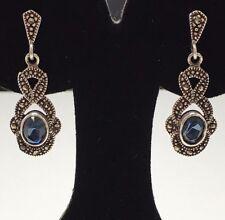 Sterling Silver Faceted Blue Topaz Marcasite Stud Dangle Earrings