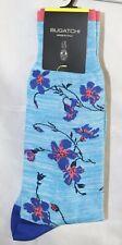 NWT BUGATCHI JB7032 AQUA FLOWERS COTTON BLEND DRESS SOCKS ONE SIZE 8.5-12.5