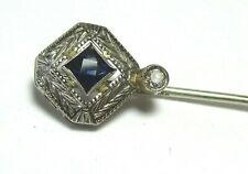 14K White Gold Stick Pin w Sapphire and Diamond in box 1.7 grams