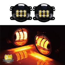 2Pcs 4Inch Yellow Lamp LED Fog Lights For 07-17 Jeep Wrangler JK Unlimited