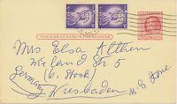 USA 1958 2 Cents Franklin postal stationery postcard uprated w 3 C Liberty (2x)