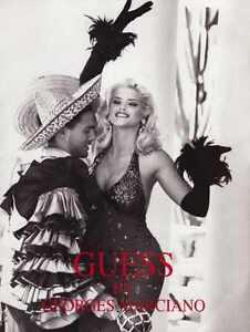 ANNA NICOLE SMITH Sexy GUESS? Spanish Dancer Fashion AD Advertisement 1992